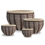 WP13012 - Home and Garden Supplies - Set of 4 Ceramic rattan Planters