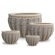 WP13013 - Wholesale Flower Pots - Ceramic seagrass, water hyacinth and rattan woven planter