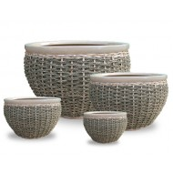 WP13014 - Home and Garden Supplies - Ceramic planters with rattan and seagrass weaving