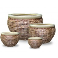 WP13016 - Hand Woven Planter - Pots covered with rattan and water hyacinth