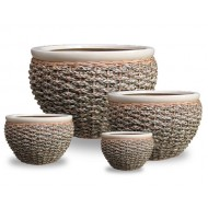 WP13017 - Home and Garden Supplies - Pots woven with rattan and water hyacinth