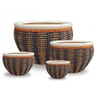 WP13018 - Wholesale Flower Pots - Pots woven with rattan and seagrass