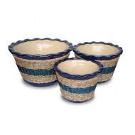 WP-13020-A - Hand woven planter - Set of ceramic planters with rattan and water hyacinth