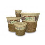 WP-13021-A - Hand woven planter - Ceramic pots with water hyacinth weaving