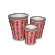WP-13022-A - Hand woven planter - Ceramic planters with rattan and water hyacinth weaving