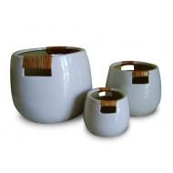 WP-13025-A - Vietnam garden supplies - Ceramic pots with bamboo weaving