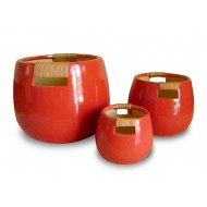 WP-13027-A - Home decorators - Ceramic pots with rattan weaving