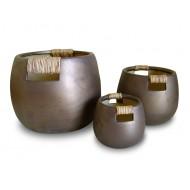 WP-13029-A - Vietnam garden supplies - Ceramic pots with bamboo weaving -