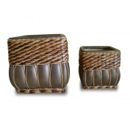 WP-13030-A - Garden Supplies - Ceramic pots with rattan and seagrass weaving