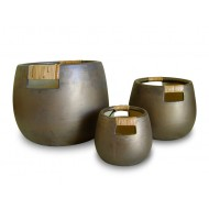WP-13032-A - Wholesale outdoor garden planters - Ceramic pots with bamboo weaving