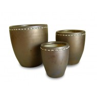 WP-13034-A Garden decor-Set of 3 Ceramic pots with water hyacinth weaving