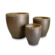 WP-13037-A-Set of 3 Ceramic planters with bamboo weaving