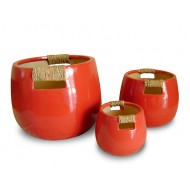 WP-13040-A-Set of 3 ceramic planters woven with bamboo