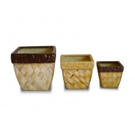 WP-13042-A- Garden Decorative Pots - Ceramic planters woven with rattan and water hyacinth