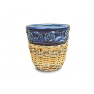 WP-13045-A-Vietnam flower pots - Woven rattan and water hyacinth ceramic flower pots