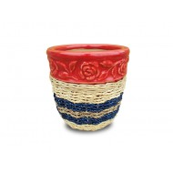 WP-13045-B - Rattan Ceramic Pots - Woven rattan and water hyacinth ceramic flower pots