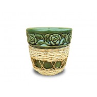 WP-13045-C - Vietnam Wholesale Rattan Pots - Woven rattan and water hyacinth ceramic flower pots