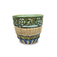 WP-13045-D-Woven rattan and water hyacinth ceramic flower pots - Vietnam Wholesale ceramic pots