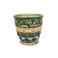 WP-13045-E-Woven rattan and water hyacinth ceramic flower pots