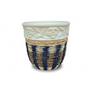 WP-13045-F- Water hyacinth pots - Woven rattan and water hyacinth ceramic flower pots