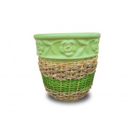 WP-13045-G-Vietnam ceramic pots - Woven rattan and water hyacinth ceramic flower pots