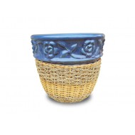WP-13045-H-Woven rattan and water hyacinth ceramic flower pots - Vietnam wholesale planters