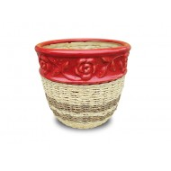 WP-13045-K - Weave Rattan Planters - Woven rattan and water hyacinth ceramic flower pots