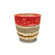 WP-13045-L- Woven rattan and water hyacinth ceramic flower pots