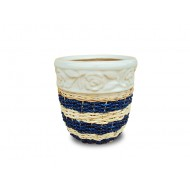 WP-13045-M - Vietnam ceramic pots - Woven rattan and water hyacinth ceramic flower pots