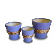 WP-13046-A - Wholesale ceramic pots- Ceramic flowers planters woven with rattan and water hyacinth