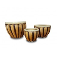 WP-13047-A- Vietnam Ceramic Pottery- Ceramic pots  woven with banana leaf