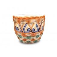 WP-13049- Wholesale Rattan Pots - Ceramic flowers planters woven with rattan
