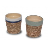 WP-13051-A- Hand Woven Planters - Ceramic flowers planters woven with water hyacinth