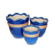 WP-13053-B - Wholesale ceramic pots- Ceramic flowers planters woven with rattan