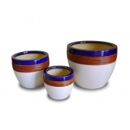 WP-13054-B - Weaving Ceramic Pots - Ceramic flowers planters woven with water hyacinth - WP-13054-B