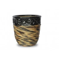 WP-13067-3A - Home and Garden Supplies - Set of 3 Ceramic pots covered with rattan and water hyacinth weaving