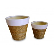 WP-13055-A-Vietnam Ceramic Pots - Ceramic flowers planters woven with water hyacinth