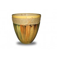 WP-13071-3A - Home Decorators - Set of 3 Ceramic pots covered with water hyacinth weaving