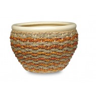 WP-13057-3A - Vietnam garden supplies - Ceramic planters with rattan, water hyacinth and seagrass weaving