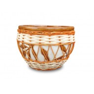 WP-13048-A-Ceramic planters woven with rattan