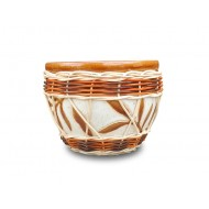 WP-13048-C-Vietnam decoration pots - Ceramic flowers pots woven with rattan