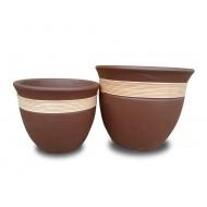 WP-13050-A-Vietnam Flower Pots-Ceramic flowers planters woven with rattan
