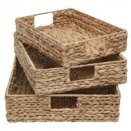 WWB-13003-Wicker Basket- Set of 3 Water Hyacinth Woven Tray
