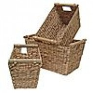 WWB-13005-Wicker Laundry Basket-Water Hyacinth Tapered Storage Basket