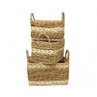 WWB-13008-Set of 3 Water Hyacinth Storage Baskets