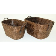 WWB-13011-Set of 2 Oval Water Hyacinth Storage Basket