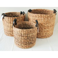 WWB-13014-Set of 3 Round Tapered Natural Water Hyacinth Storage Baskets with Loop Handles