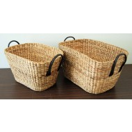 WWB-13015-Set of 2 Oval Water Hyacinth Storage Baskets with Real Leather Ear Handles