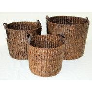 WWB-13016-Set of 3 Round Tapered Brown Water Hyacinth Storage Baskets with Loop Handles